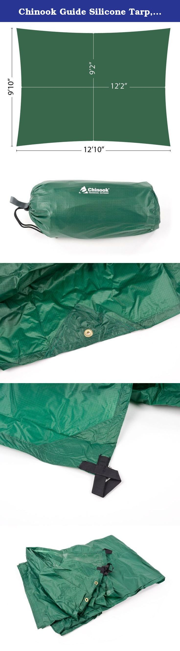 Chinook Guide Silicone Tarp, 12 X 9-Feet. These all-condition, all-purpose tarps are perfect anytime you need protection from sun or rain. Compact packing size and lightweight fabric make these the ideal tarps for any backpacking, group camping or water sports trip. Numerous guy points and special catenary cuts ensure a taut pitch.