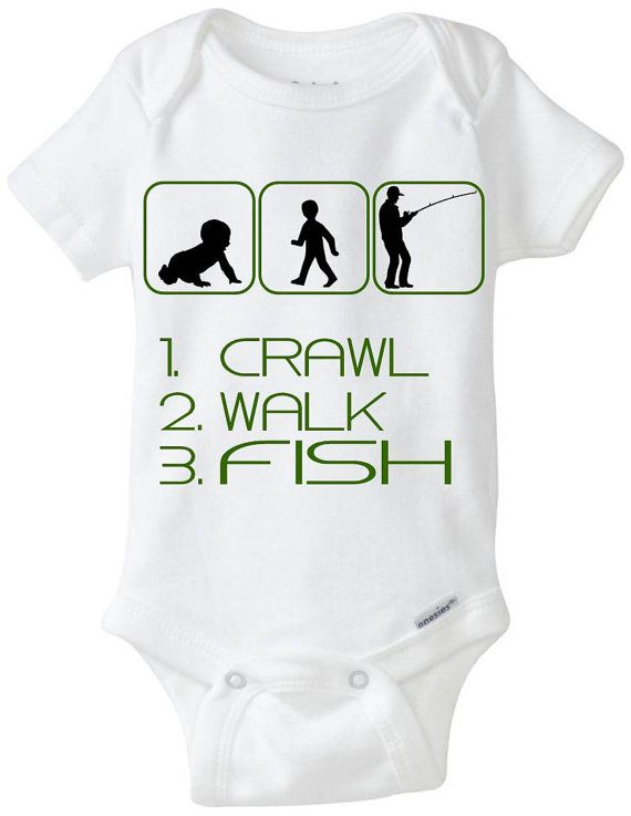 """Fish / Fishing Baby Gift Onesie: Great for any new Dad who loves to Fish or is a Fisherman - """"Crawl Walk Fish"""" Shown in Camo Green, but available in any color! Customize by adding baby's name! Available Here: www.etsy.com/shop/LittleFroggySurfShop"""