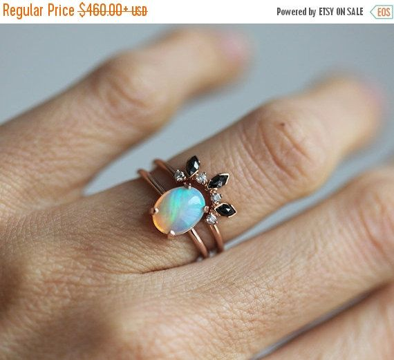 Black Friday SALE Rose Gold Opal Ring, Ethiopian Opal Ring, Welo Opal Ring, Oval Opal Ring, Opal Solitaire Ring, Simple Opal Ring, October B