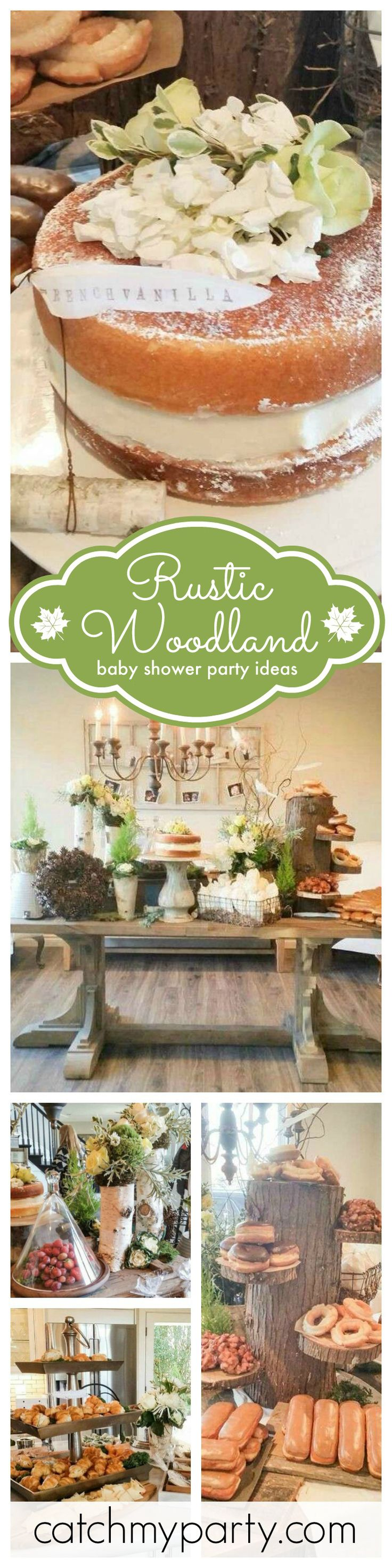 You'll love these fabulous ideas for hosting a Rustic Woodland Baby Shower! Love the log serving stands!! See more party ideas at CatchMyParty.com