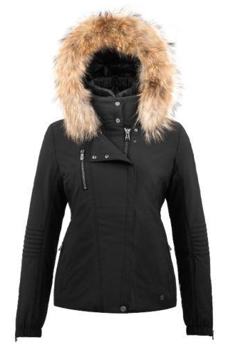 Poivre-Blanc-Short-Stretch-Faux-Fur-Ladies-Ski-Jacket-Black