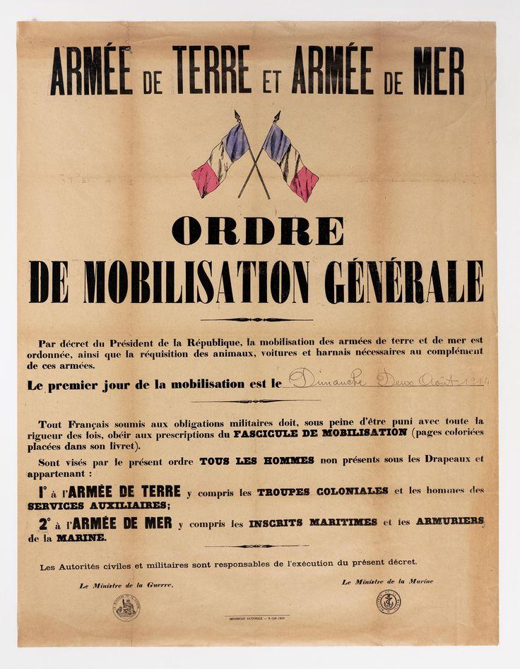 Affiche de l'ordre de mobilisation générale  le 2 août 1914.  Archives nationales, AE/II/3598 © Archives nationales, France