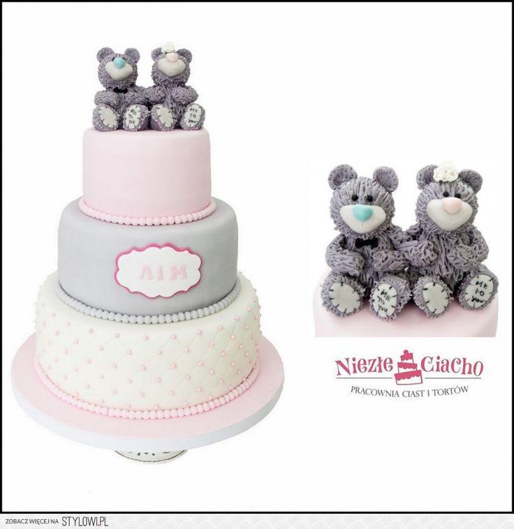 Misiaczki, dwa misie na torcie, piętrowy tort weselny, tort z misiami, wesele, rózowo-szary tort weselny, Tarnów