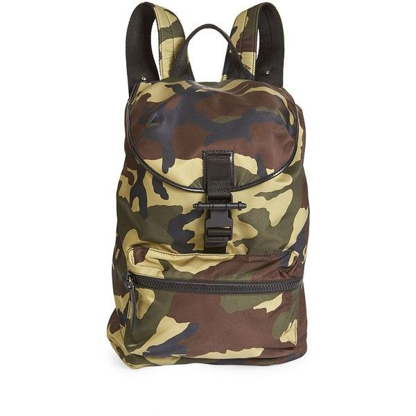 Givenchy Multiple Pocket Backpack ($627) ❤ liked on Polyvore featuring men's fashion, men's bags, men's backpacks, mens camo backpack, mens drawstring backpack, mens backpack and mens leather backpack