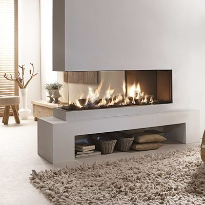 """MABO Sfeerhaarden, prachtige moderne doorkijk gashaard. Deze is """"brandend"""" te zien in onze showroom!!"""
