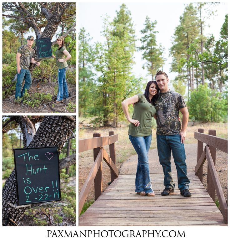 """Cute prop involves the Groom's passion for the outdoors. Chalkboard says """"The hunt is over!"""" Engagement Photography Ideas"""
