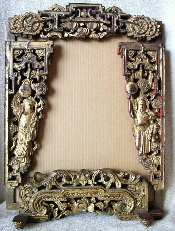 Antique Wood Paneling: Antique Chinese Carved Gold Gilt & Red Wood Panel Frame W