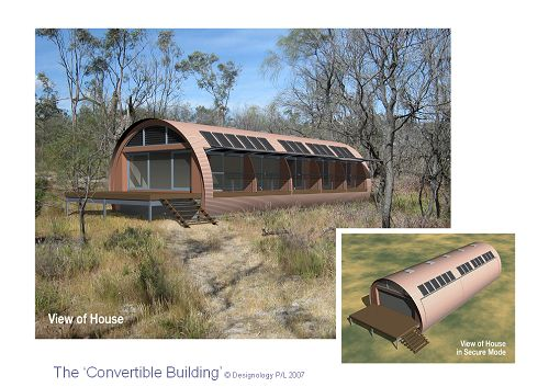Convertible House: A concept image of a single story dwelling in a rural setting