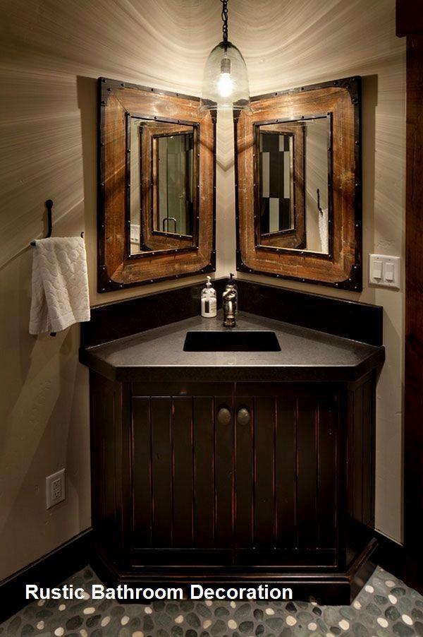 New Rustic Bathroom Decoration In 2020 Rustic Bathroom Vanities Farmhouse Bathroom Decor Corner Bathroom Vanity