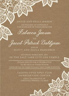 lds wedding invitation wording - Google Search