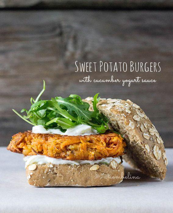 Sweet Potato Burgers with Cucumber Yogurt Sauce - Nombelina's Foodblog