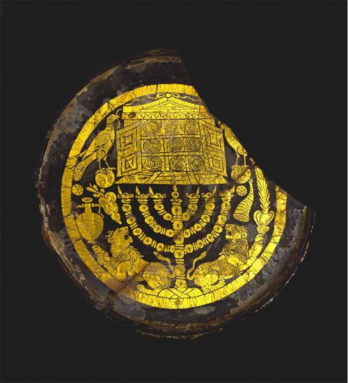 Roman gold glass medallion with Jewish ritual objects, 3rd century A.D. British museum