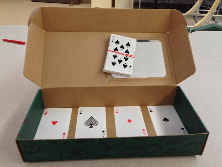"Large playing cards. Sort by color, number or suit. (Great task for older students, not ""babyish"")"