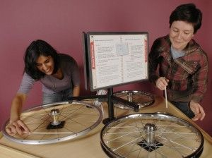 Multiple Bicycle Wheels Mounted To A Table Top Create A Cacophony Of Sound.