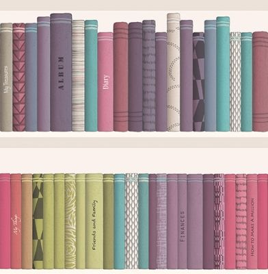 Marcus (269115) - Albany Wallpapers - A contemporary book case library design with strong colourful shading and funky patterns on some of the books. Showing in purple, lime green and duck egg - another colour way is available. Please request a sample for true colour match.