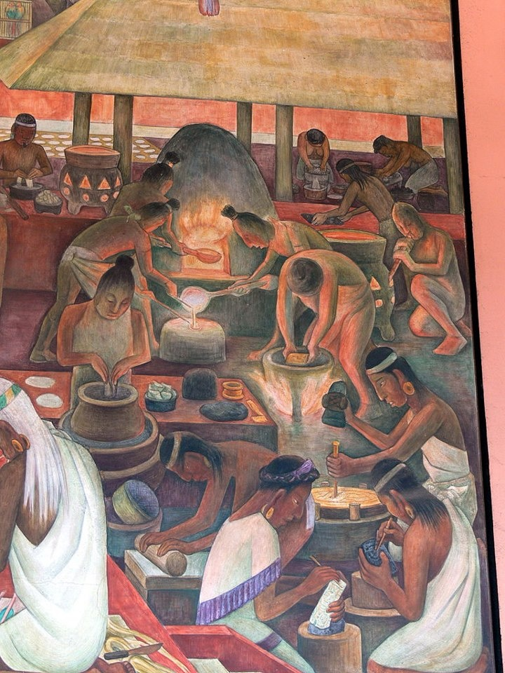 Diego rivera mural showing aztec production of gold for Diego rivera mural palacio nacional