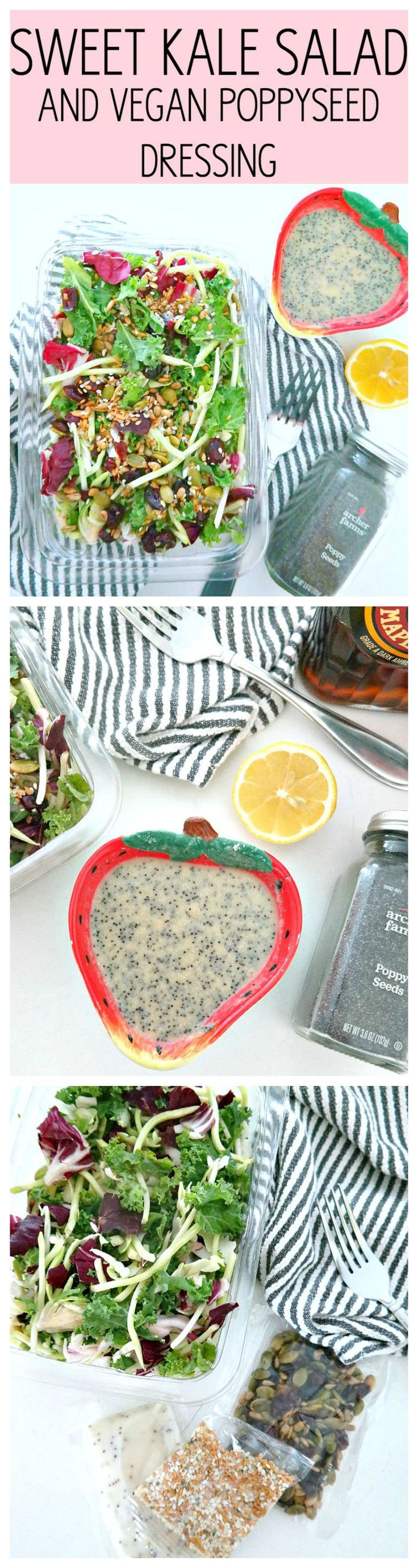Sweet Kale Salad and Vegan Poppyseed Dressing - with a mix of kale, broccoli, brussels sprouts and lots of superfood seeds as well as a simple vegan poppyseed dressing! From The Glowing Fridge #EatSmartVeggies