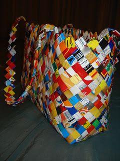 Wrapper bourses - Made complètement recyclés emballages de croustilles