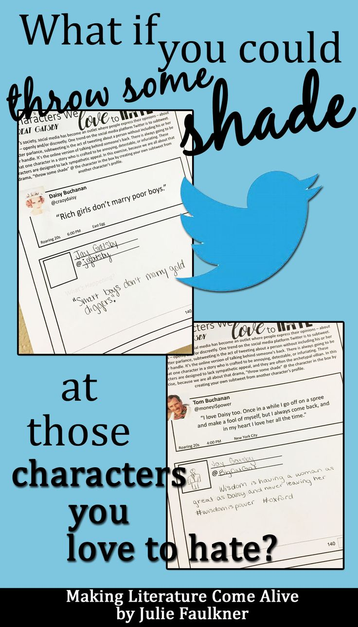 Creative Literature Activities, Throw Some Shade, Characterization, Villains, Point of View Activity, Twitter, Sub-tweet