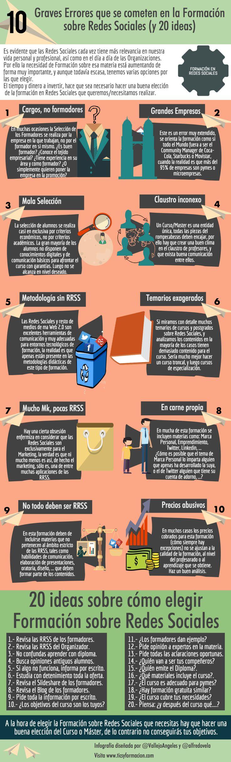 10 graves errores que se cometen en Formación sobre Redes Sociales #infografia
