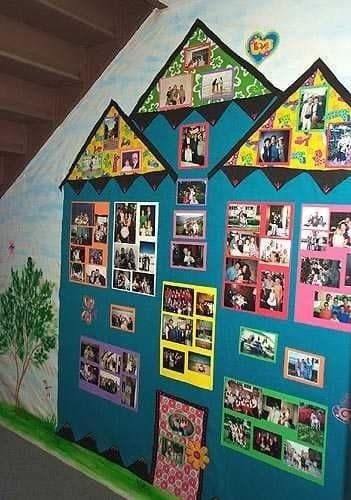 This house is filled with photos of students and their families. What a great way to make families feel like they're a part of your classroom community.