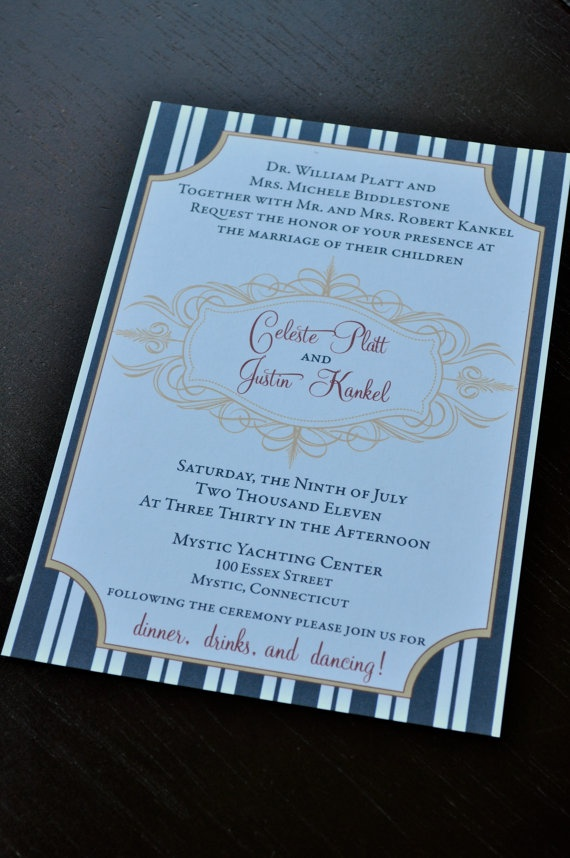 Navy striped vintage Post card Wedding Invitation