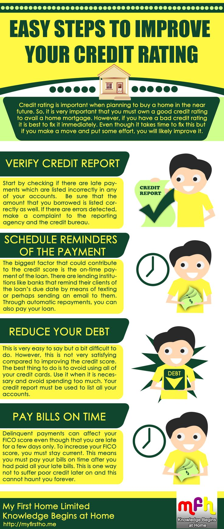 Easy Steps to Improve Your Credit Rating Credit rating is important when planning to buy a home in the near future. So, it is very important that you must own a good credit rating to avail a home mortgage. However, if you have a bad credit rating it is best to fix it immediately. Even though it takes time to fix this but if you make a move and put some effort, you will likely improve it. Like. Share. Tag. http://www.facebook.com/MyFirstHomeCommunity http://myfirstho.me