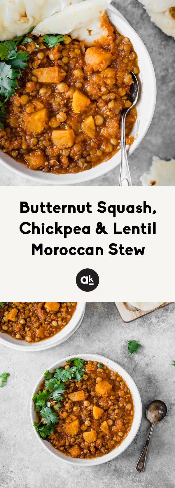 Butternut Squash, Chickpea & Lentil Moroccan Stew