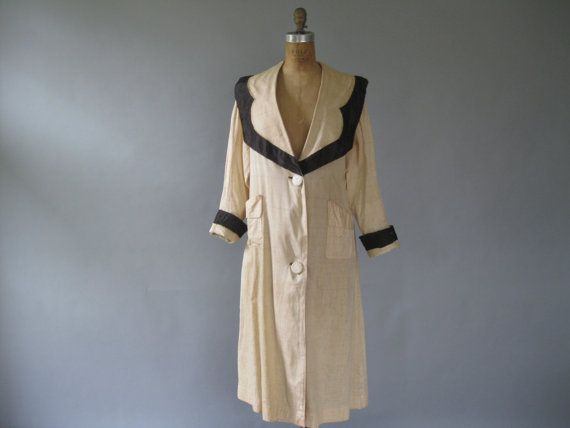 Antique Edwardian Duster Coat 1900s Linen and Satin Trim
