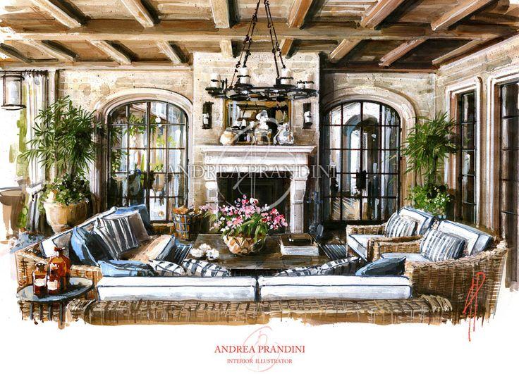 interior illustration and visualization, watercolor illustration, handmade rendering - country - Andrea Prandini
