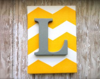 """Nursery Letter Decor or Child's Room 5 x 7 Yellow Chevron Monogram wall hanging with Grey letter. """"L"""" wall art."""