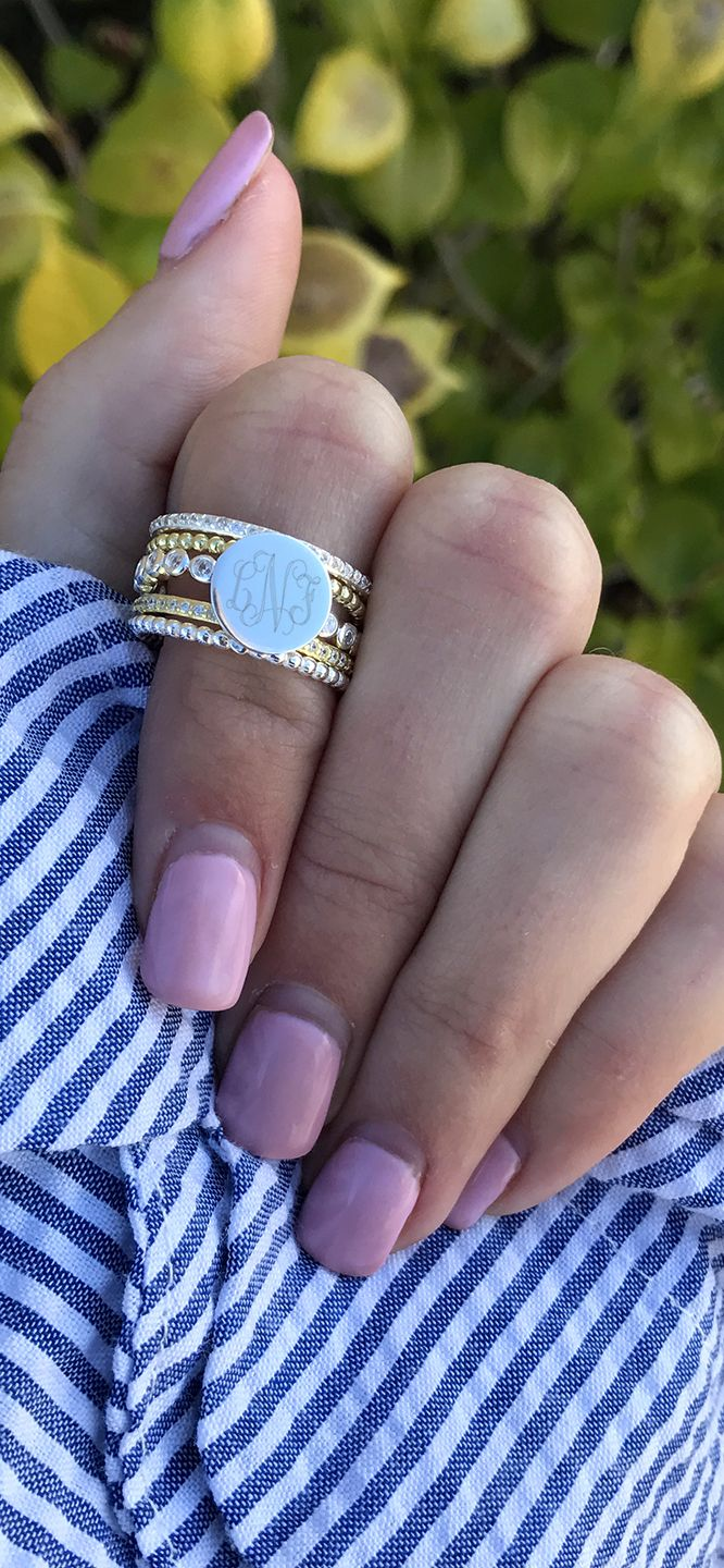 Monogrammed Ring Stack now on SALE, shop our Flag Day Sale!