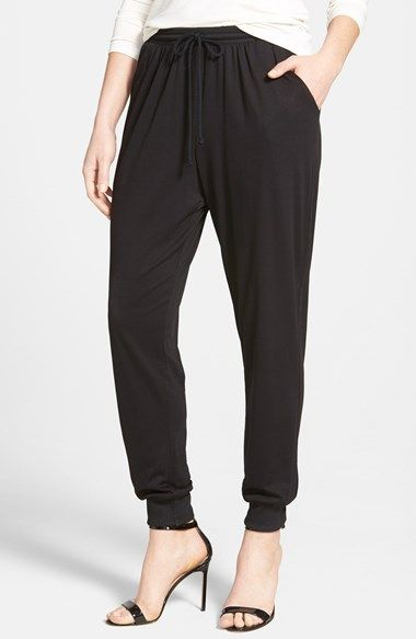 Bobeau Drawstring Waist Jogger Pants at Nordstrom.com. Soft stretch-knit fabrication lends lovely drape and comfort to trendy jogger pants topped with an elastic-drawstring waist and tapered to rib-knit cuffs.