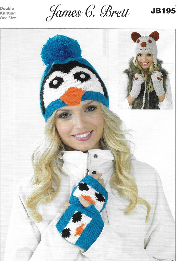 James C Brett JB195 uses double knitting #3 weight yarn. Penguin and Dog Hats and Fingerless Gloves.