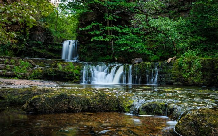 Download wallpapers waterfall, forest, green trees, mountain stream, lake