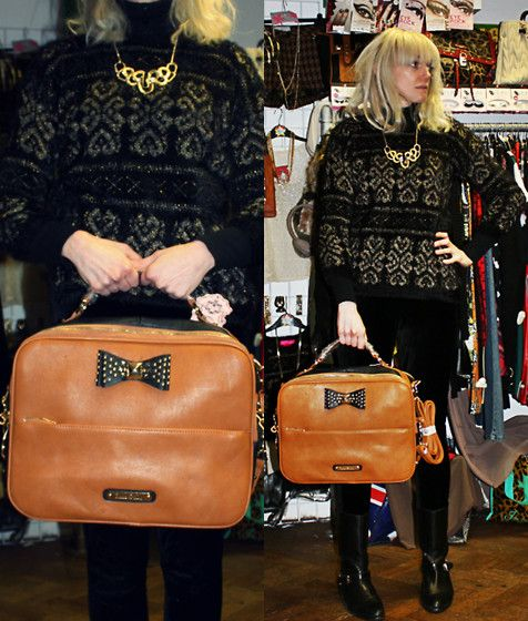 24-11-13 - Anna Smith Tan Bag/laptop case with studded Bow detail RRP £45 - Rokii save 20% £36, Black and Gold Fluffy Jumper RRP £32 Rokii £25.60, Necklace £5.50  Rokii Portsmouth rokii.co.uk  ROKII ONLINE SHOP, Rokii Portsmouth, www.rokii.co.uk Order through FB or on the phone 02392294081 and get FREE LOCAL DELIVERY PO1-PO6, Lay Away until Christmas, Buy-Wrap-Deliver Service available Jumper, bag, necklace, earings all Rokii Portsmouth    Black Velvet Leggings C05, Dune Black Leather Boots…