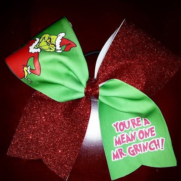 You're a mean one Mr. Grinch cheer bow | bling on the bows custom cheer bows