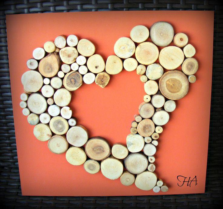 Szív kép fából