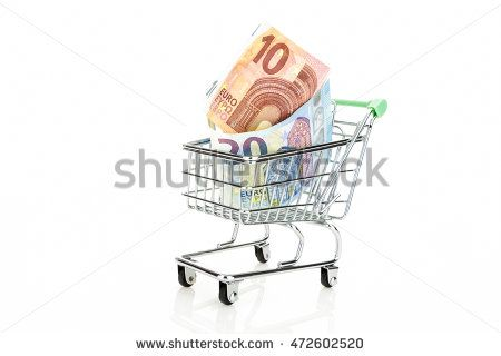 Shopping cart with Euros, isolated on white background