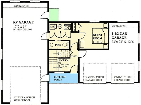 Plan 9839SW RV Garage Apartment With Guest Bed