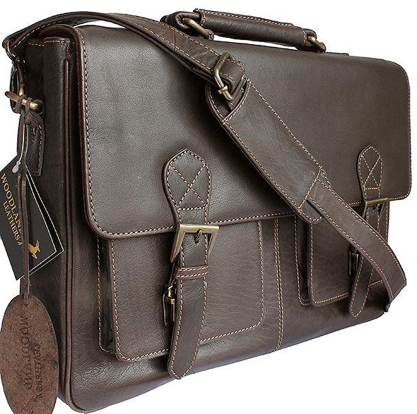 Men's Messenger Style Dark Brown Leather Briefcase