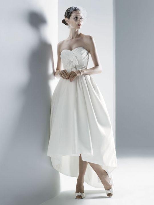 Oleg Cassini Strapless Faille High-Low Dress W/Sweetheart Draped Bodice Size 2
