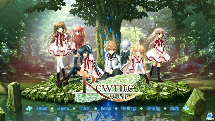 "Rewrite, a visual novel that introduces the life of Kotarou Tennouji, a high school student with superhuman abilities who investigates supernatural mysteries with five girls from his school, The tagline for the game is, ""Could it possibly be rewritten, that fate of her's?""."