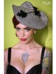 Cocktail Dish Hat Fascinator in Black and White with Feather