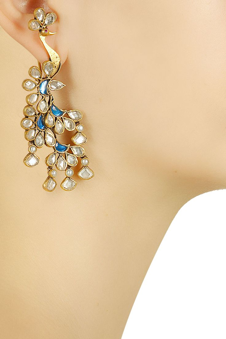 Gold plated traditional crystal peacock earrings available only at Pernia's Pop-Up Shop.