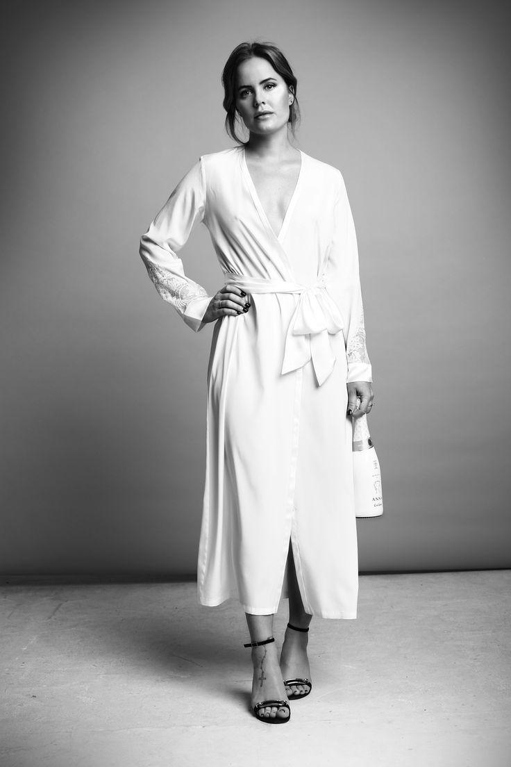 Joanna Fingal wearing the Anna silk dress.