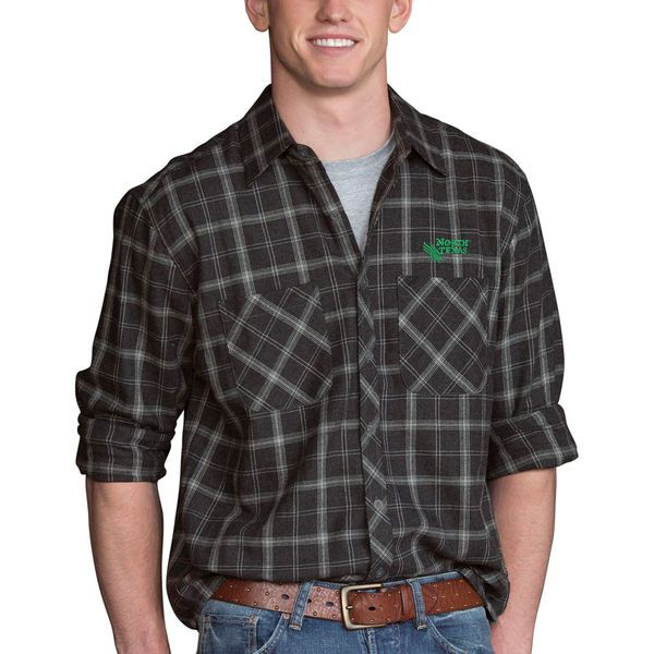 North Texas Mean Green Brewer Flannel Long Sleeve Shirt - Charcoal - $59.99