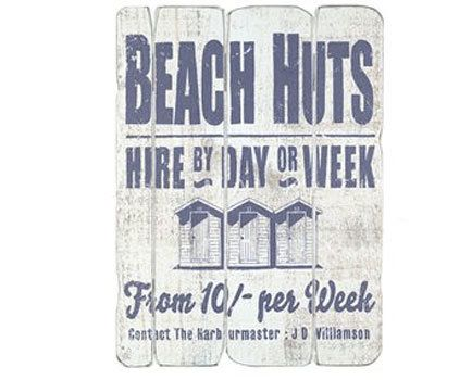 Beach Huts Vintage Sign available from Browsers Furniture Co., Limerick Ireland. https://www.browsers.ie/products/beach-huts?category=pictures-signs&top_category=5