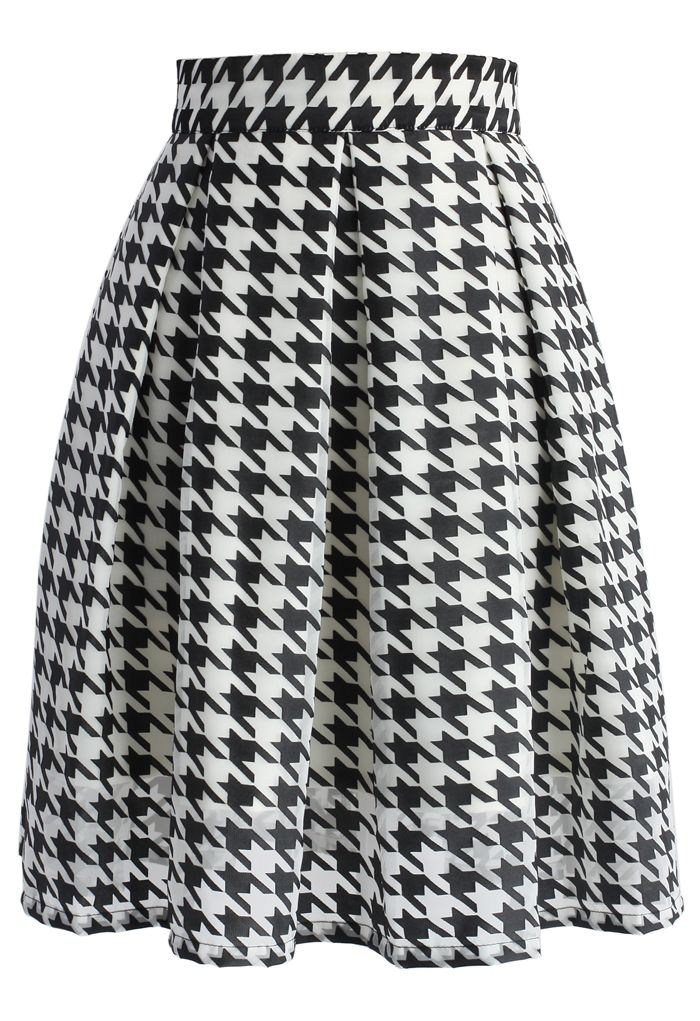 Chic Houndstooth Organza Pleated Skirt - New Arrivals - Retro, Indie and Unique Fashion