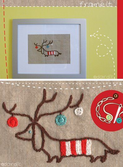 Head on over to Orange You Lucky for this sweet weiner dog reindeer download, which you can use to stitch up some cute embroidered goodies.